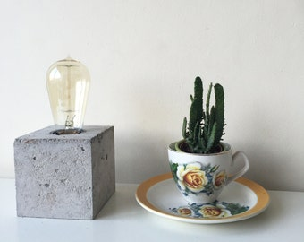 Concrete block Table Lamp Industrial Edison Light E27