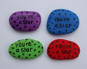 Graduation Gift, You are a Star Pebble Painting, Well Done Gift, Star Card Alternative, Congratulations Gift, You are a Star Stone Art Gift