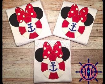Miss Mouse Life Preserver Applique Shirt, Miss Mouse Cruise Applique Shirt