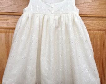 Ivory Baby Dress, Ivory Eyelet Dress, Ivory Cotton Embroidered Dress, Ivory Cotton Dress, Girls Ivory Dress, 3 Mo, 6 Mo, 12 Mo, 18 Mo, 2T