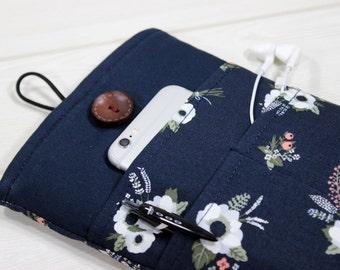 Floral Ebook sleeve, 6 inch ebook case, Kobo Aura sleeve, navy blue tablet case, iPad Mini case, Kindle cases, Galaxy Tab S2 case