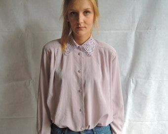 Vintage Baby Pink / Lila Long Sleeve Embroider Collar Button Up Top Blouse