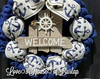Nautical Wreath, Anchor Wreath, Blue and White Wreath, Patriotic Wreath, Beach Wreath, Naval Wreath, Summer Wreath, Burlap wreath