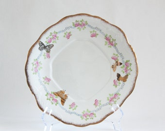Vintage Up-cycled Platter with Golden Butterflies