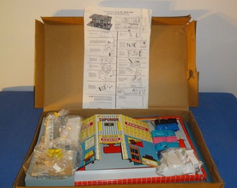 Vintage Superior Toys Tin Litho Service station New old stock 1961 New in box