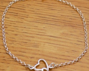 "Marvelous Gently Solid 925 Sterling Silver Cool Lovely Hearts Bracelet 18 cm / 7.1"" Long"