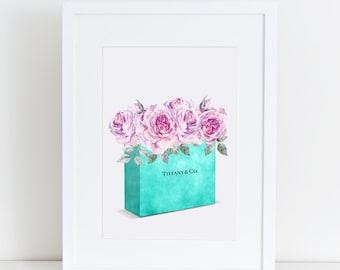 Teal blue Bag, Fashion Painting, roses, flowers, shopping bag, designer, pink, fashion illustration, vanity art Fashion Print Breakfast at