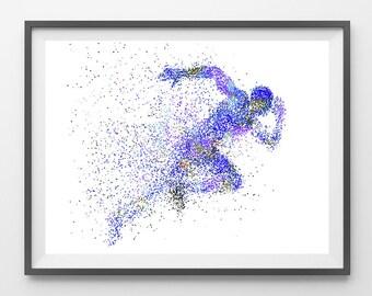 Runner watercolor print running man poster runner illustration sport art running art print, the runner wall art gift for runners [336]
