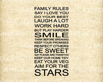 Wonderfull MOTIVATION INSPIRATIONAL Words Family Rules Quoters Collection Printable Digital Collage Sheet Printing Transfers HQ 300 dpi