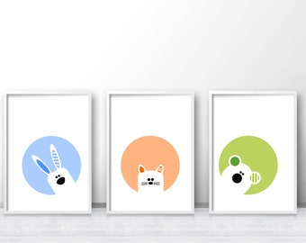 Nursery Prints, Printable Kids Wall Art, Modern Nursery Art, Animal Nursery Print, Kids Art Print, Playroom Wall Art, Nursery Print Set of 3