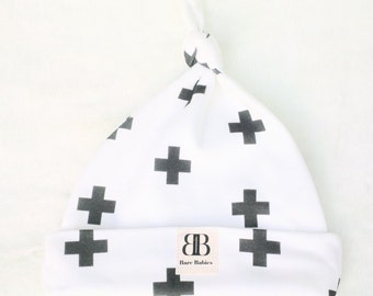 Black Crosses on White Newborn Beanie