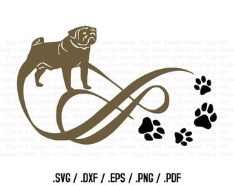 Pug Puppy, Love Infinity Puppy Clipart, Veterinary Office Wall Art, Animal SVG File, Vinyl Cutter, Screen Printing Die Cut Machine - CA247