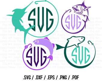 Fishing Monogram SVG, Sailfish Clip Art, Fishing Sport Design Files, Silhouette Software, dxf files, EPS File, Cricut Design Space - CA255