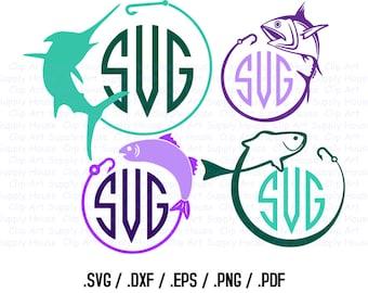 Fishing Monogram SVG, Sailfish Clip Art, Fishing Sport Design Files, Silhouette Software, dxf files, EPS File, Cricut Design Space - CA255