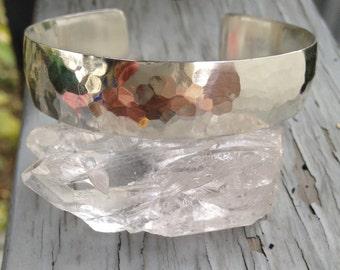Hammered solid sterling silver cuff bracelet