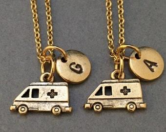 Best friend necklace, EMS necklace, medical necklace, bff necklace, friendship jewelry, friends, personalize necklace, initial necklace