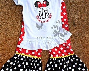 Believe in the Magic Minnie Mouse Inspired Boutique Monogrammed Shirt and Ruffle Shorts or Pants for Baby Girls, Toddler Girls, Girls