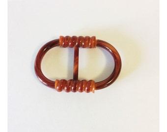 Vintage Brown Plastic Belt Buckle Twist