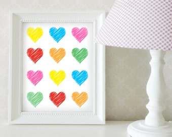 Nursery Art, Nursery Room Decor, Rainbow Hearts, Digital Print, Instant Download