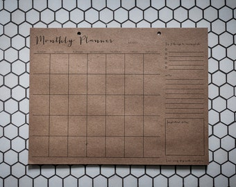 Monthly Planner - Kraft Notepad