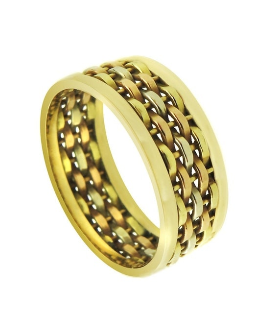 14k Tri Color Gold Hand Woven Wedding Band