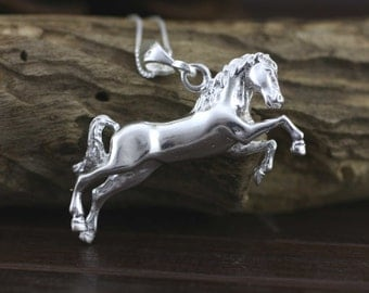 Silver Horse, Sterling Silver Horse Necklace, Horse Pendant, Silver Horse Necklace, 925 Solid Sterling Silver Horse, Animal jewelry