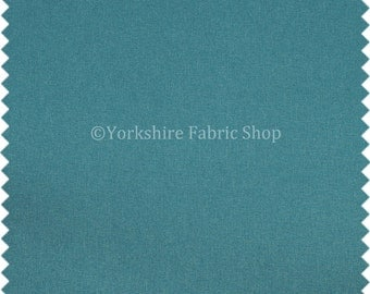 New Durable Soft Wool Finish Chenille Plain Upholstery Fabric Blue Teal Colour For Furnishing Furniture Curtains Sofas - Sold By The Metre