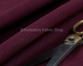 10 Metres Of New Durable Soft Wool Finish Chenille Plain Upholstery Fabric Burgundy Colour For Interior Furnishing Furniture Curtains Sofas