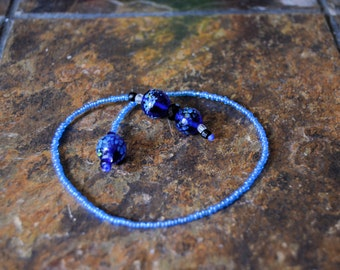 Blue Glass Beaded Bookmark
