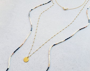 layered necklace, delicate beads necklace, triple necklace, dainty necklace,vermeil gold, sterling silver,opal setting choker,stone choker
