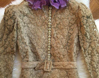 1930s vintage embroidered net lace suit with rhinestone buttons and silk chiffon ruffle collar.
