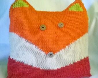 hand knitted fox cushion