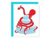 Octopus wedding card (octopus card wedding cake card engagement card wedding invitation wedding congratulations ocean wedding nerdy wedding)