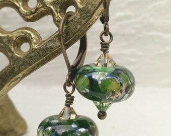Frog Pond Lampwork Crystal Earrings