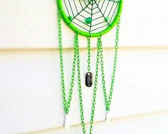 "Dream Catcher, ""Jade Inspiration"", Lime Green Spider Web, Handmade"