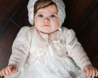 Baby Girl Sweater, Joli Ivory Knit Sweater, Pink Lace