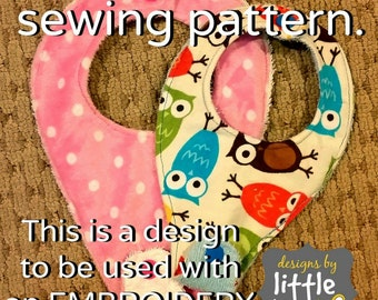 DIGITAL item - NOT a sewing pattern!! bib for pacifier dummy binky ITH in the hoop embroidery only 8x12 & 6x10 Instant Download