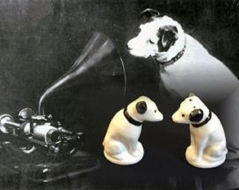 "Vintage Ceramic Dog ""Nipper"" Salt and Pepper Shakers, RCA Victor Mascot, Circa 1940s"