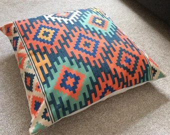 Multi Coloured Kilim/Aztec/Tribal/Scandinavian Cotton Linen Floor Cushion/Pillow Cover 26 x 26""