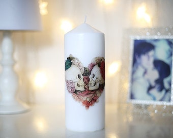 Skull Heart pillar candle
