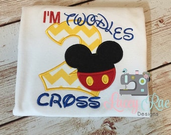 Personalized custom mickey mouse 2nd birthday shirt, Two, mickey applique birthday shirt