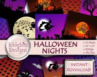 """Halloween Digital Paper Pack for Scrapbooking, """"HALLOWEEN NIGHTS"""" witches, haunted house background, skulls, zombies, Design #73"""