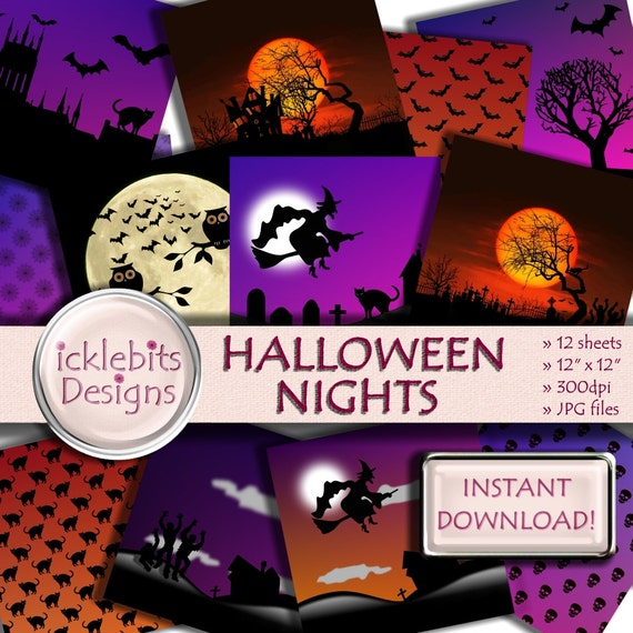 "Halloween Digital Paper Pack for Scrapbooking, ""HALLOWEEN NIGHTS"" witches, haunted house background, skulls, zombies, Design #73"