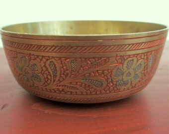 Small Brass Bowl from India. Vintage Etched Brass. Asian Floral Etching. Ethnic Indian Home Decor Red and Blue Flowers