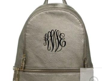 Monogram Designer Fashion Backpack- Pewter