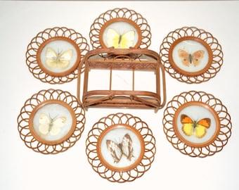 butterflies, coasters, rattan/wicker, vintage frames