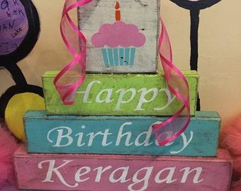 Happy Birthday Blocks, personalized happy birthday blocks, name blocks, birthday decor, distressed blocks, kids birthday, birthday ideas