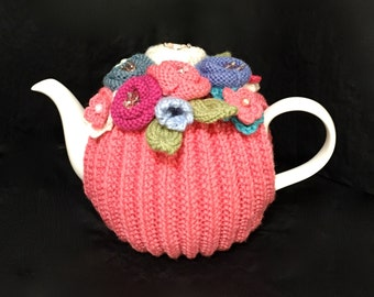 Lotus -  Tea cosy, Hand Knitted Tea Cosy, Hand knit, Wool, Pearls, Kitchen, Handcrafted, Handmade, Gift, Present, Tea Cozy (4-6 cup)