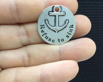 5pcs Anchor Icon Refuse to sink Round Tibetan Silver Charm 25mm