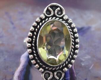 Sterling silver Natural Lemon Quartz Ring Size 8.5 - Natural Stone Ring - ring size 8 9 - Gemstone Ring - Yellow Quartz ring - Boho Chi